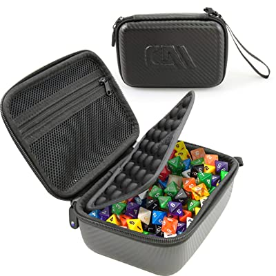 CASEMATIX Travel Dice Case and Dice Holder for 100+ RPG Dice with Padded Interior Divider, Netted Accessory Storage and Wrist Strap - Hard Shell Protective DND Dice Box and RPG Dice Case - Case Only!: Toys & Games