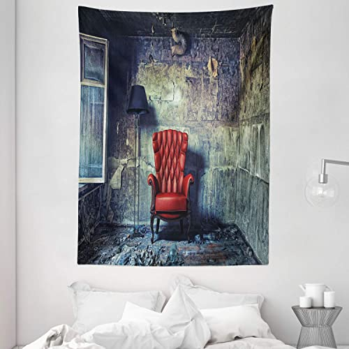 Ambesonne Antique Tapestry, Old Armchair in Grunge Retro Interior Damaged Messy Abandoned House Old, Wall Hanging for Bedroom Living Room Dorm, 60 X 80 , Pale Green Red Black