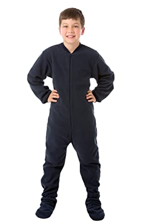 e6f91fed3686 Amazon.com  Big Feet Pjs Boys   Girls Junior Navy Fleece Kids Footed ...