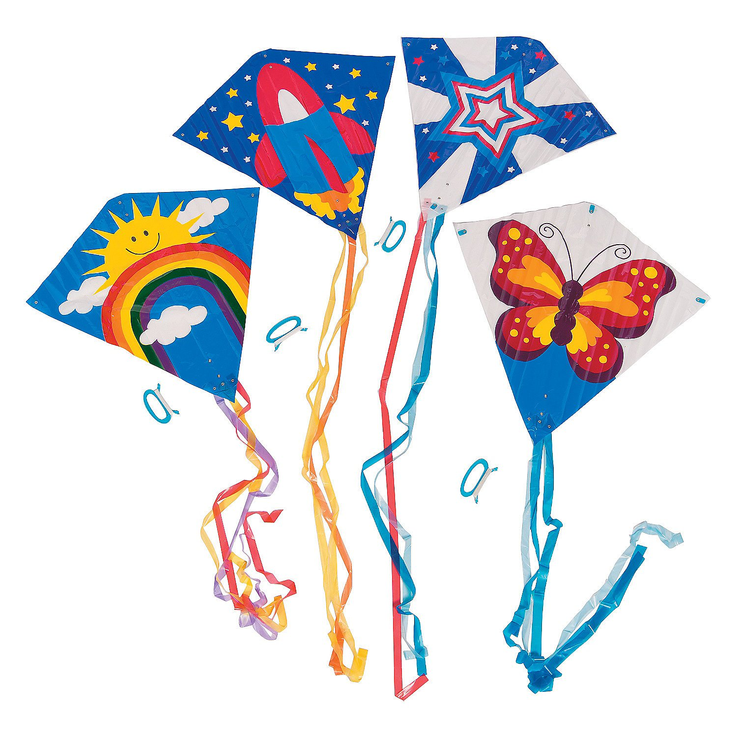Fun Express Assorted Flying Kite Pack 28 x 28in with 54 in Tails - Assorted Styles and Colors - 200 ft of String with Handle - 12 Pieces by Fun Express