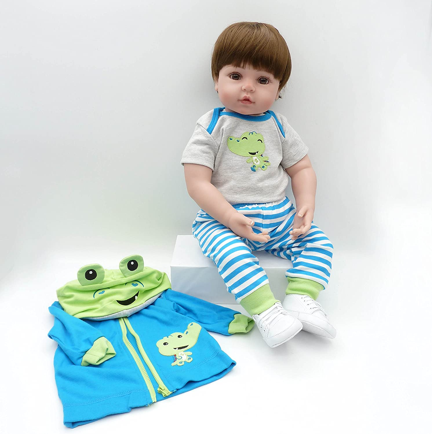 HUADOLL Reborn Baby Dolls Clothes 22 inch Boy Outfits Accesories for 22-24 inch Reborn Doll Newborn Blue Frog Matching Clothing