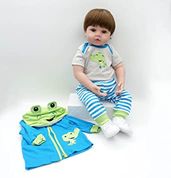 MAIDEDOLL Reborn Muñecas de bebé de Vinilo de Silicona Suave Realista Recién Overol Chamarra Azul Pantalones Blanco Zapatos Nacido para niños ...