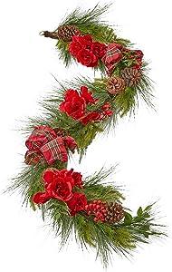 BrylaneHome Christmas Bellmead Holiday Garland, Multi