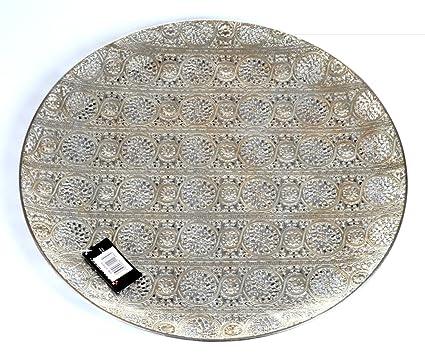 Decorative Plate Luminous Lace Collection Silver Tray Extra Large  sc 1 st  Amazon.com & Amazon.com: Decorative Plate Luminous Lace Collection Silver Tray ...