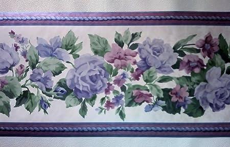 Purple Roses Wallpaper Borders Amazon Co Uk Diy Tools