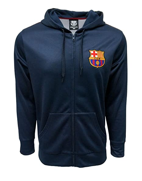 bb7700e073f FC BARCELONA Official Merchandise by HKY Sportswear Men s Zip Front Printed  Back (Navy
