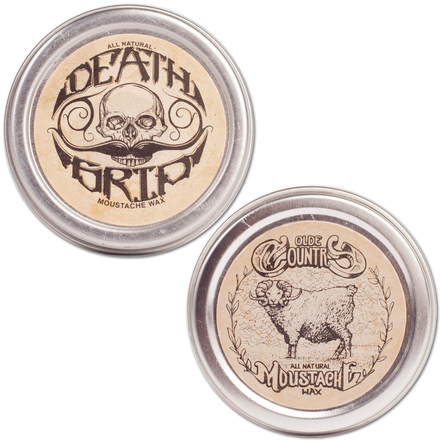 Moustache Wax Combo Pack - Medium & Strong Hold, 1oz Each … 1oz Each … The Vintage Grooming Company