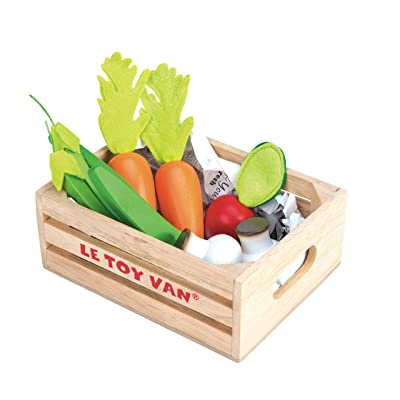 Le Toy Van Honeybake Collection Vegetables '5 A Day' Crate Set Premium Wooden Toys for Kids Ages 3 Years & Up: Toys & Games