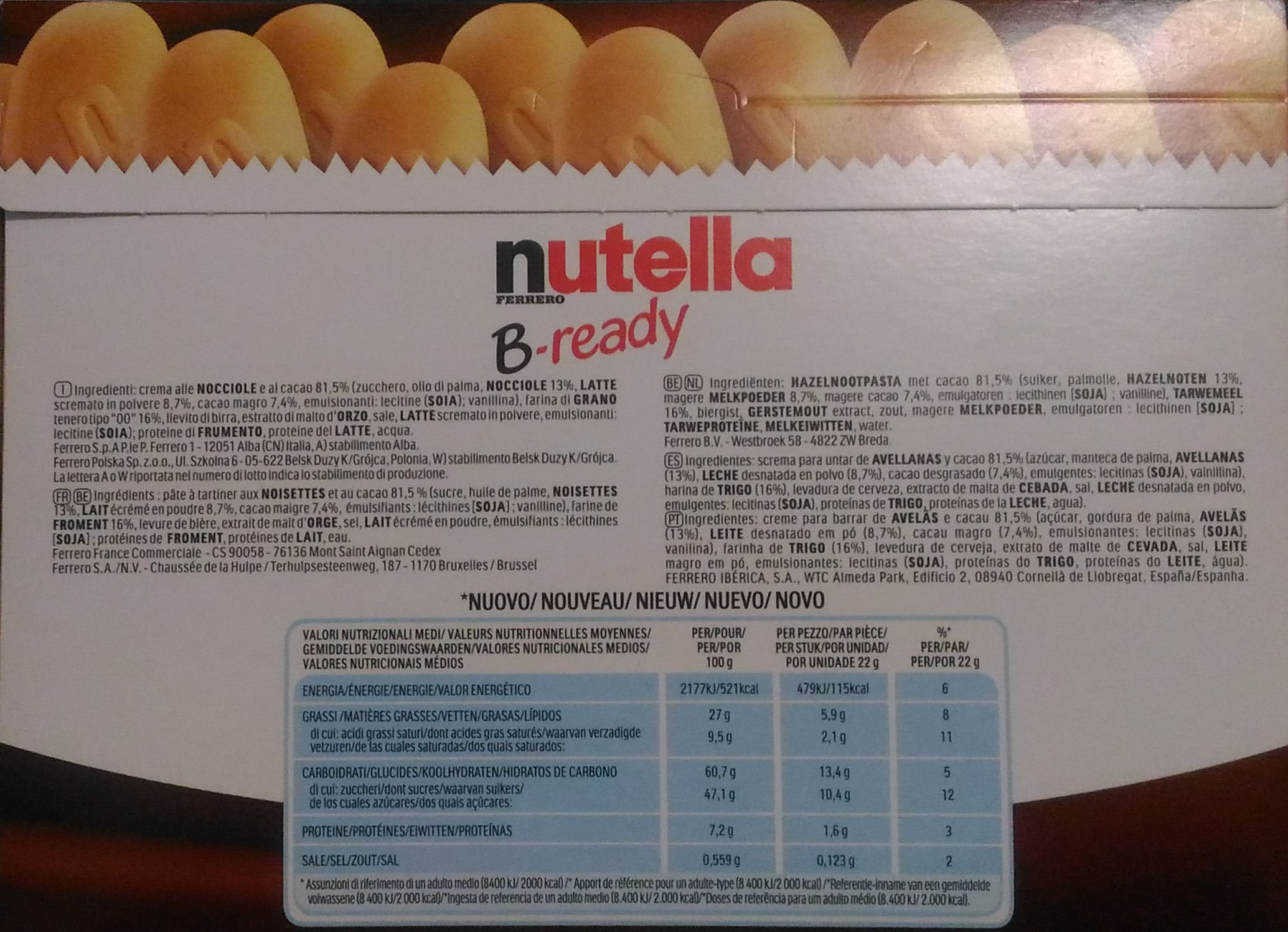 Ferrero: ''Nutella B-ready '' a crisp wafer of bread in the form of mini baguette stuffed with a creamy Nutella 10 pieces 7,76 oz (220g) pack of 6 by Nutella (Image #3)