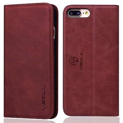 iPhone8 ケース アイフォン7ケース 手帳型 VISOUL iPhone7 ケース 本革 [ ガラスフィルム付き ] アイフォン8 ケース 手帳  カード収納 携帯ケース スマホケース マグネット式 横置きスタンド (緋色)