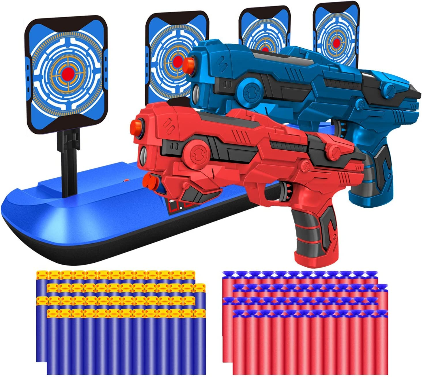 with 40 Pcs Refill Darts and 2 Hand Wrist Bands. BOUNHOHE Electronic Running Target Scoring Auto Reset Shooting Digital Target for Nerf Guns