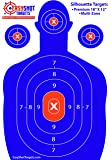 """EasyShot SILHOUETTE TARGETS For Shooting, High-Contrasting Blue & Red Colors, Easy to See Your Shots Land, Heavy-Duty Paper Sheets 18"""" X 12"""" - 150 Free Repair Stickers, Close To Wholesale Prices."""