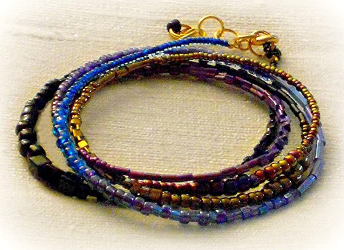 """38/"""" Multi Strand Natural Color Bohemian Handmade Seed Bead Silver Tone Necklace"""