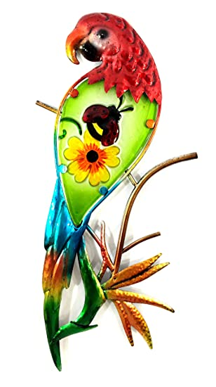Bejeweled Display Parrot W Glass Wall Art Plaque Home Decor