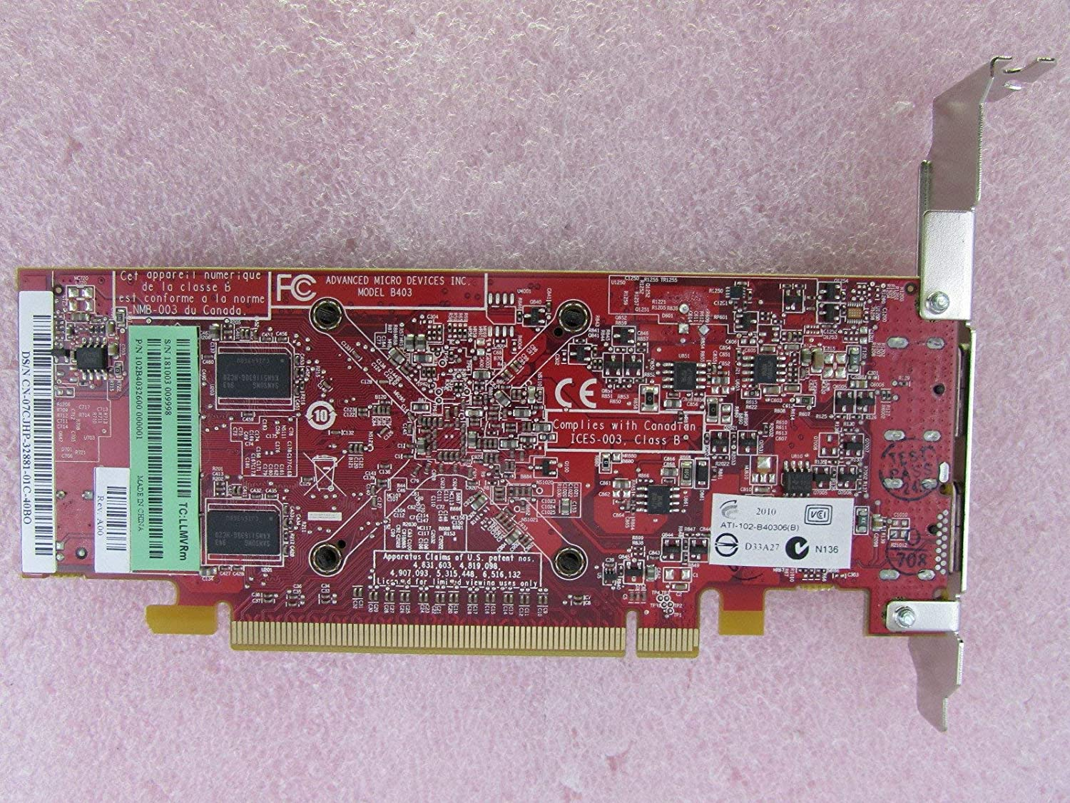 Dell 7CJHP ATI FireMV 2260 256MB DDR2 PCIeX16 Workstation Video Card 102B4032600 Renewed