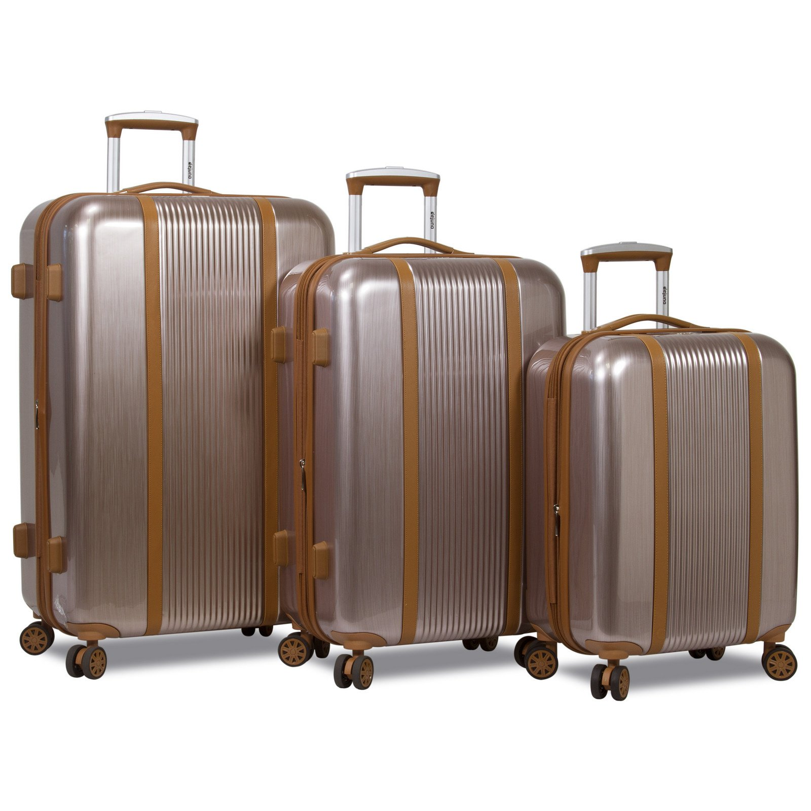 Dejuno Monroe 3-Piece Hardside Spinner TSA Lock Luggage Set - Rose Gold