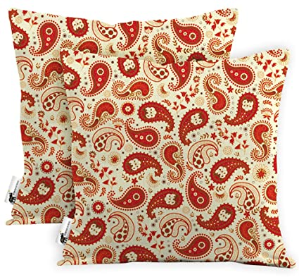 Amazon Com Outdoor Boho Red Paisley Waterproof Throw Pillows Set