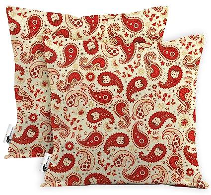 Amazon Com Outdoor Boho Red Paisley Waterproof Throw Pillows Set