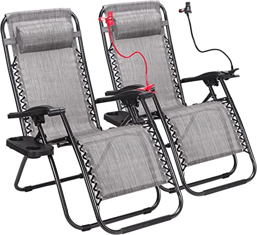 Set of 2 Zero Gravity Outdoor Lounge Chairs w/Cup Holder