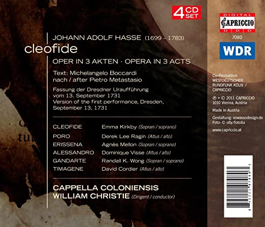 Johann Adolf Hasse, William Christie, Emma Kirkby, Derek Lee Ragin, Agnes Mellon - Cleofide: Opera in 3 Acts - Amazon.com Music