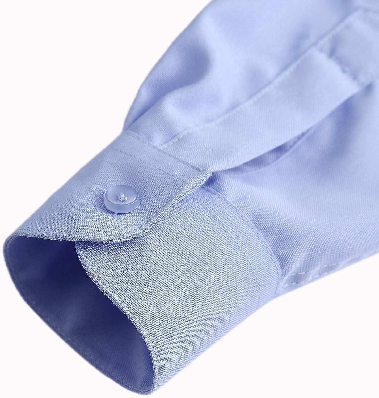 AOLIWEN Girl/'s Long Sleeve Ruffle Shirts School Uniform Blouse Slim Fit Shirt