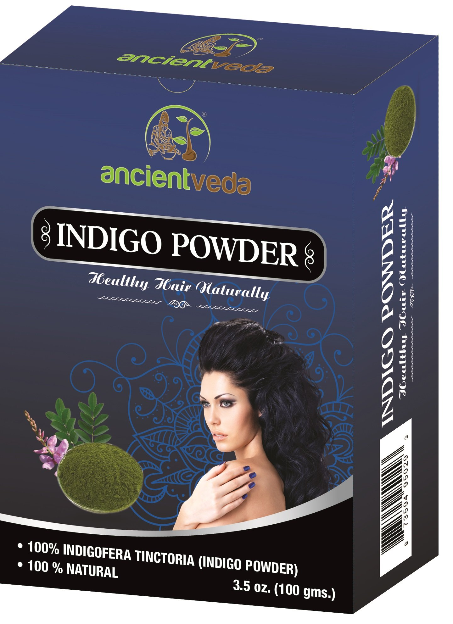 Indigo Powder, 7 Oz(Pack of 2 X 100 Gms) - NO Fillers, NO Preservatives, NO Chemicals - Ancient Veda