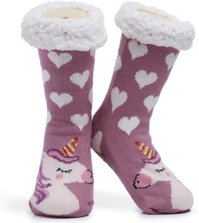 CityComfort Calcetines para zapatillas mullidas Mujeres Calcetines para el hogar suaves premium Tamaño 4-8 - Novedad Perro pastor de ovejas Gato Mullido y peludo Calcetines para zapatillas