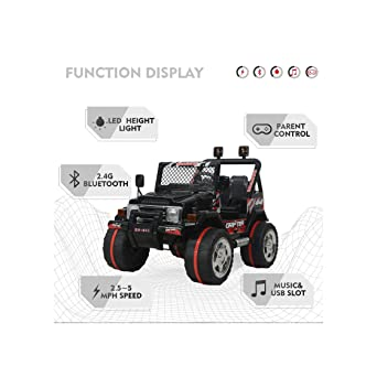 Amazon.com: Seguridad Negro 12 V Rideon coche eléctrico ...