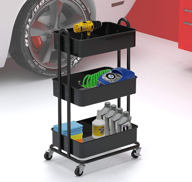SimpleHouseware Heavy Duty 3-Tier Metal Utility Rolling Cart, Black : Office Products