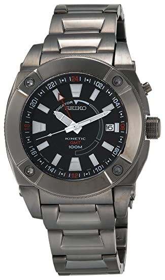 Seiko De los Hombres Kinetic GMT sun007 Negro Ion Reloj