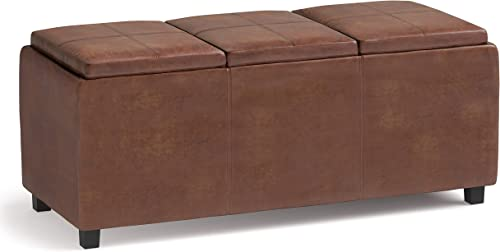 SIMPLIHOME Avalon 42 inch Wide Contemporary Rectangle Storage Ottoman