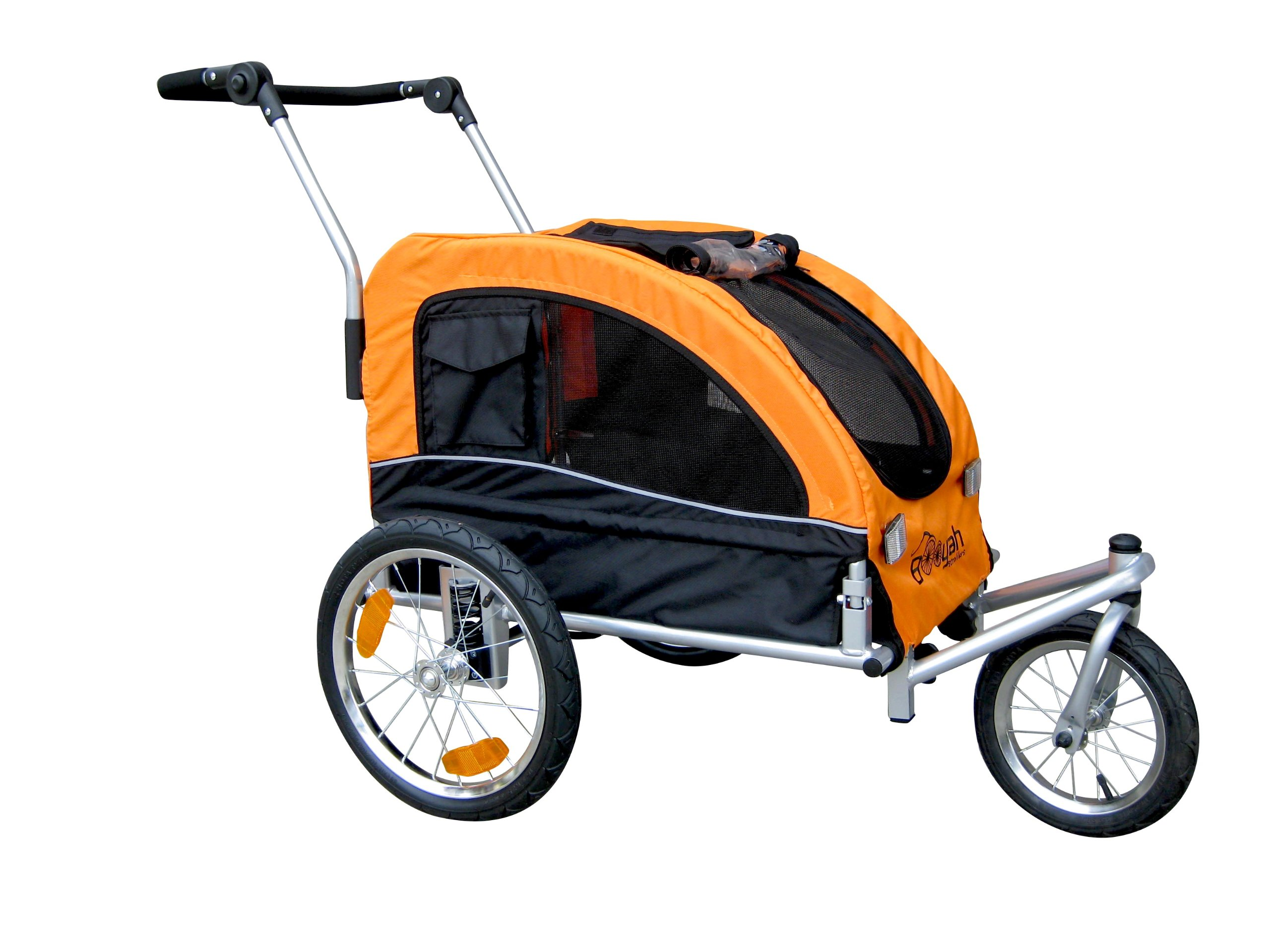 Booyah Medium Dog Stroller & Pet Bike Trailer with Suspension - Orange by Booyah Strollers