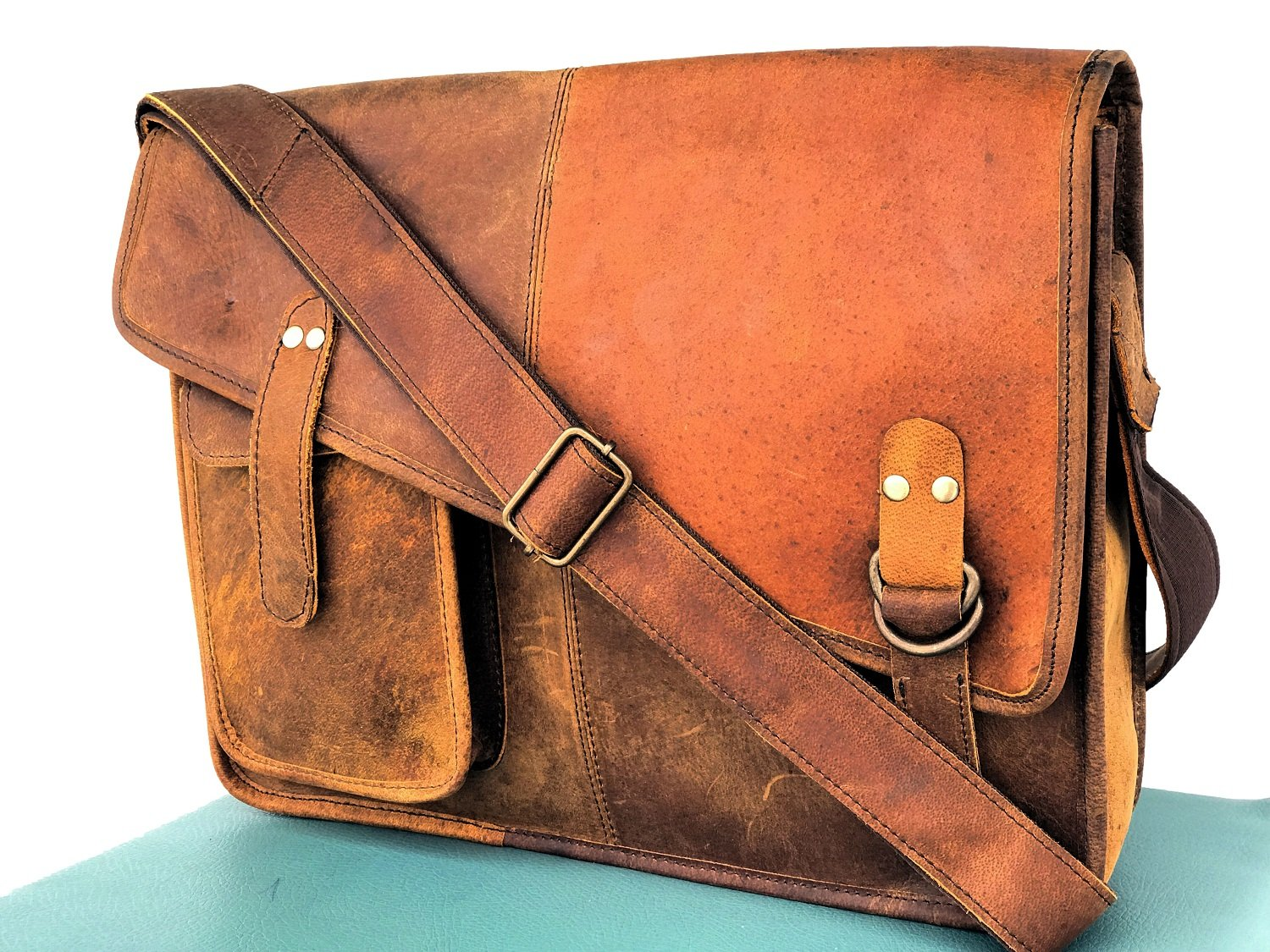 AOL Retro Buffalo Hunter Leather Laptop Messenger Bag Office Briefcase College Bag 15 inch