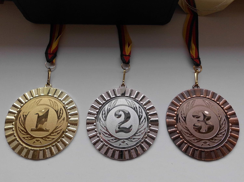 Zahl Nr 1 Pokal Kids Medaillen 70mm 3er Set Deutschland-Bändern Emblem Zahlen Pokale & Preise
