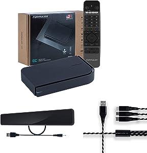Formuler CC 4K Hybrid UHD + ATSC & OTT Media Receiver 2GB Ram 16GB Memory+ Indoor Flat Digital HDTV Antenna with Amplifier + 3 in 1 Charger.