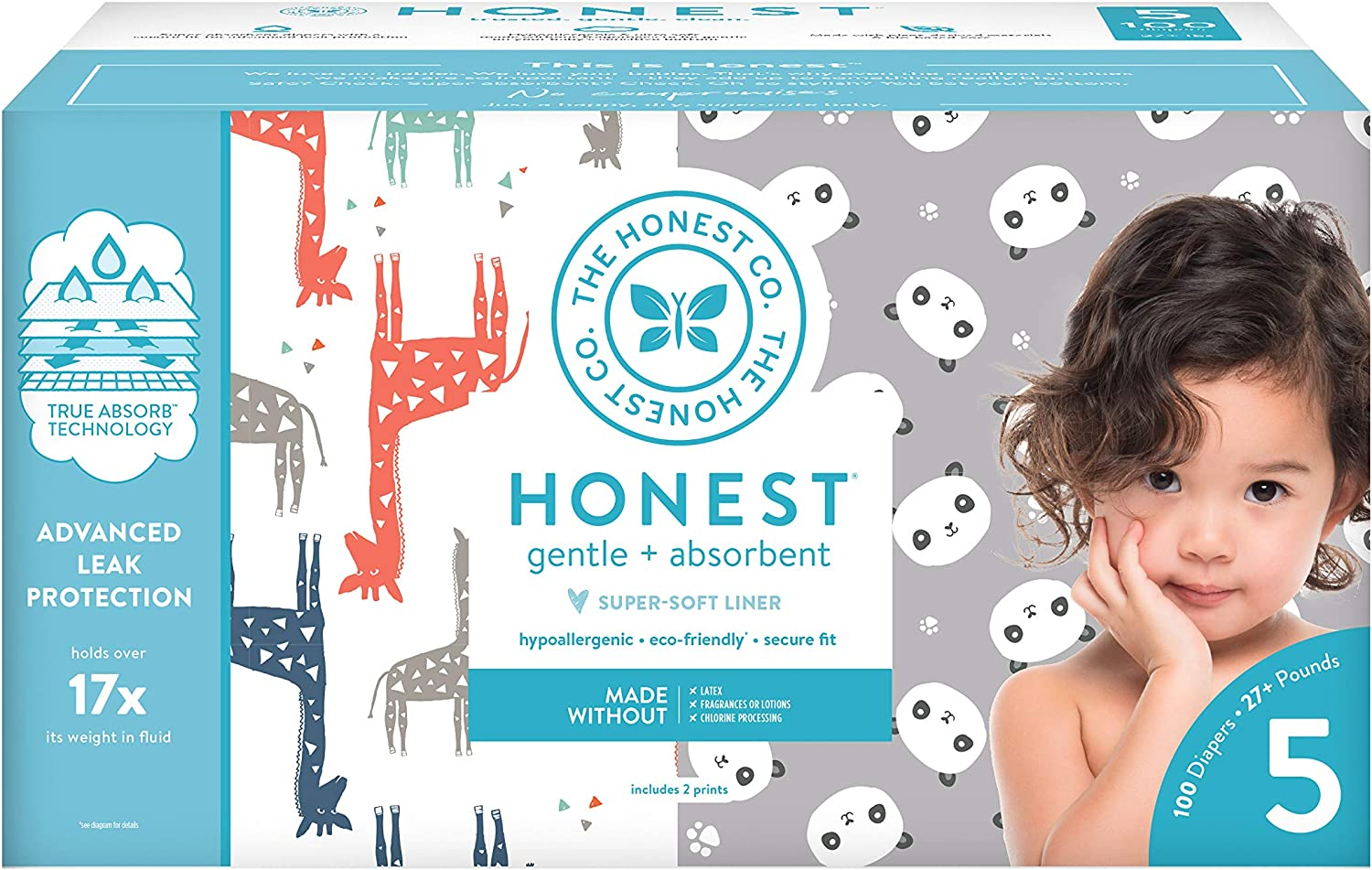 The Honest Company Super Club Box Diapers with TrueAbsorb Technology, Pandas & Safari, Size 5, 100 Count