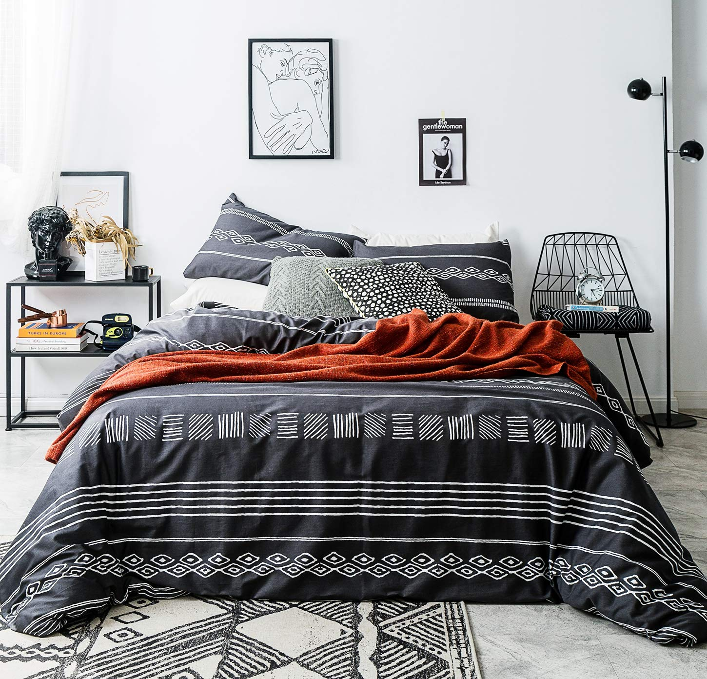 SUSYBAO 3 Piece Duvet Cover Set 100% Natural Cotton Queen Size Black and White Aztec Bedding Set with Zipper Ties 1 Geometric Duvet Cover 2 Pillowcases Luxury Quality Breathable Comfortable Durable