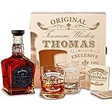 polar-effekt Caisse en bois avec bouteille de Jack Daniel's Single Baril Tennessee Whisky | 6pièces Coffret cadeau Whisky avec gravure personnalisée–Original - Exclusive