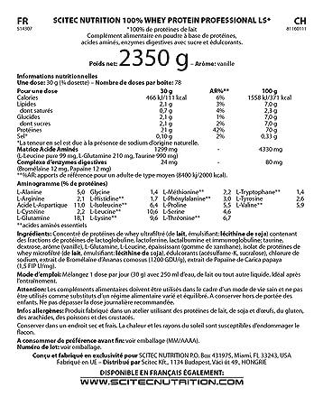Scitec Nutrition Whey Protein Professional Lightly Sweetened Proteína Ligeramente Endulzado Vainilla - 2350 g
