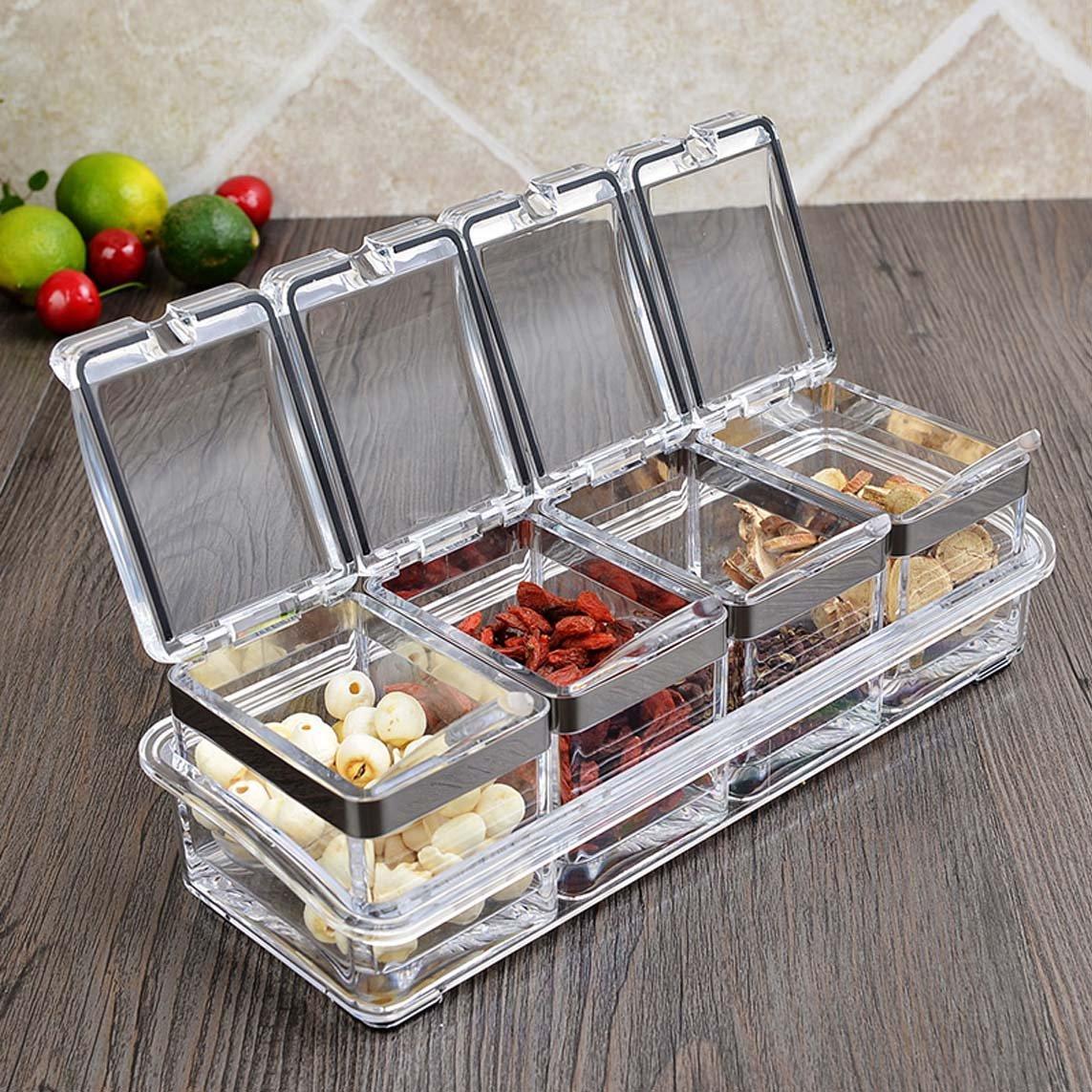 ZFDM Kitchen Supplies European Creative Seasoning Box Seasoning Jar Set Seasoning Bottle Seasoning Box Acrylic Salt Shaker