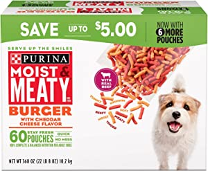 Purina Moist & Meaty Burger With Cheddar Cheese Flavor Adult Dry Dog Food (Burger with Cheddar Cheese Flavor, 6 oz. Pouch, 1 Box of 60 Pouches)