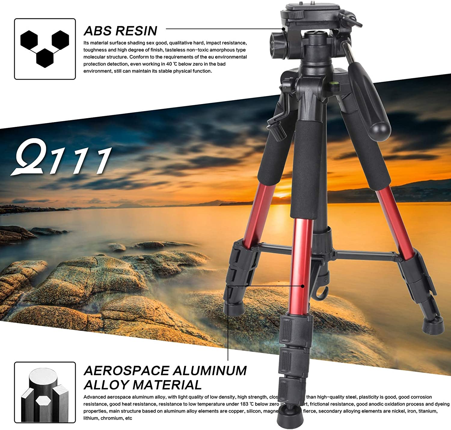 Mhwlai Tripod Lightweight and Compact Travel Portable Camera Tripod Suitable for Canon Nikon Sony SLR Camera Video with Carrying case red