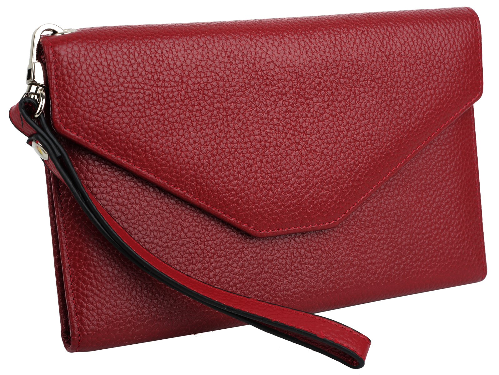 YALUXE Women's RFID Blocking Leather Large Wristlet Clutch Passport Checkbook Wallet Pebbled Red