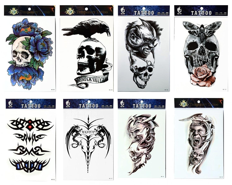 Larga duración y realista Temp tatuaje pegatinas 8pcs mezclas ...