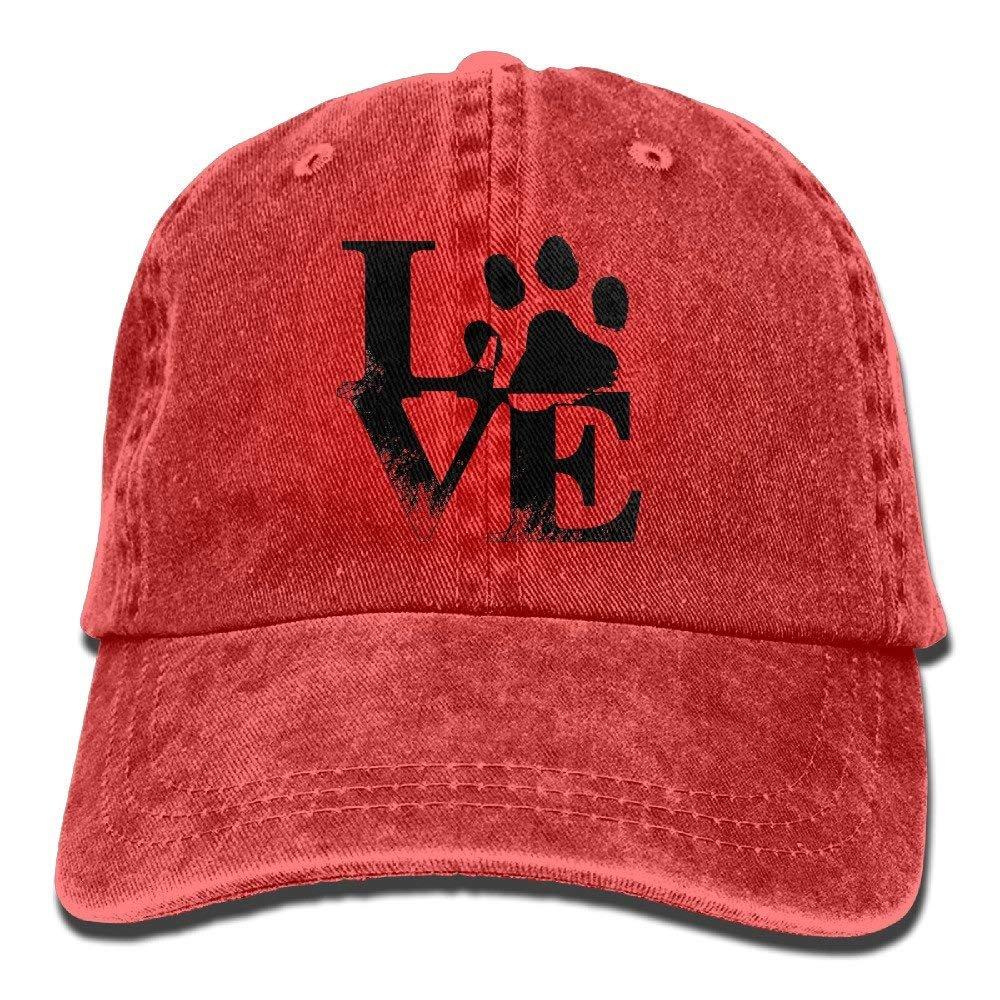 Unisex Adult Love Paw Print Washed Denim Cotton Sport Outdoor Baseball Hat Adjustable One Size