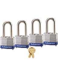 Master Lock 3QLF Keyed-Alike Padlock, 1-9/16-inch Wide 1-1/2-inch Shackle, 4-Pack