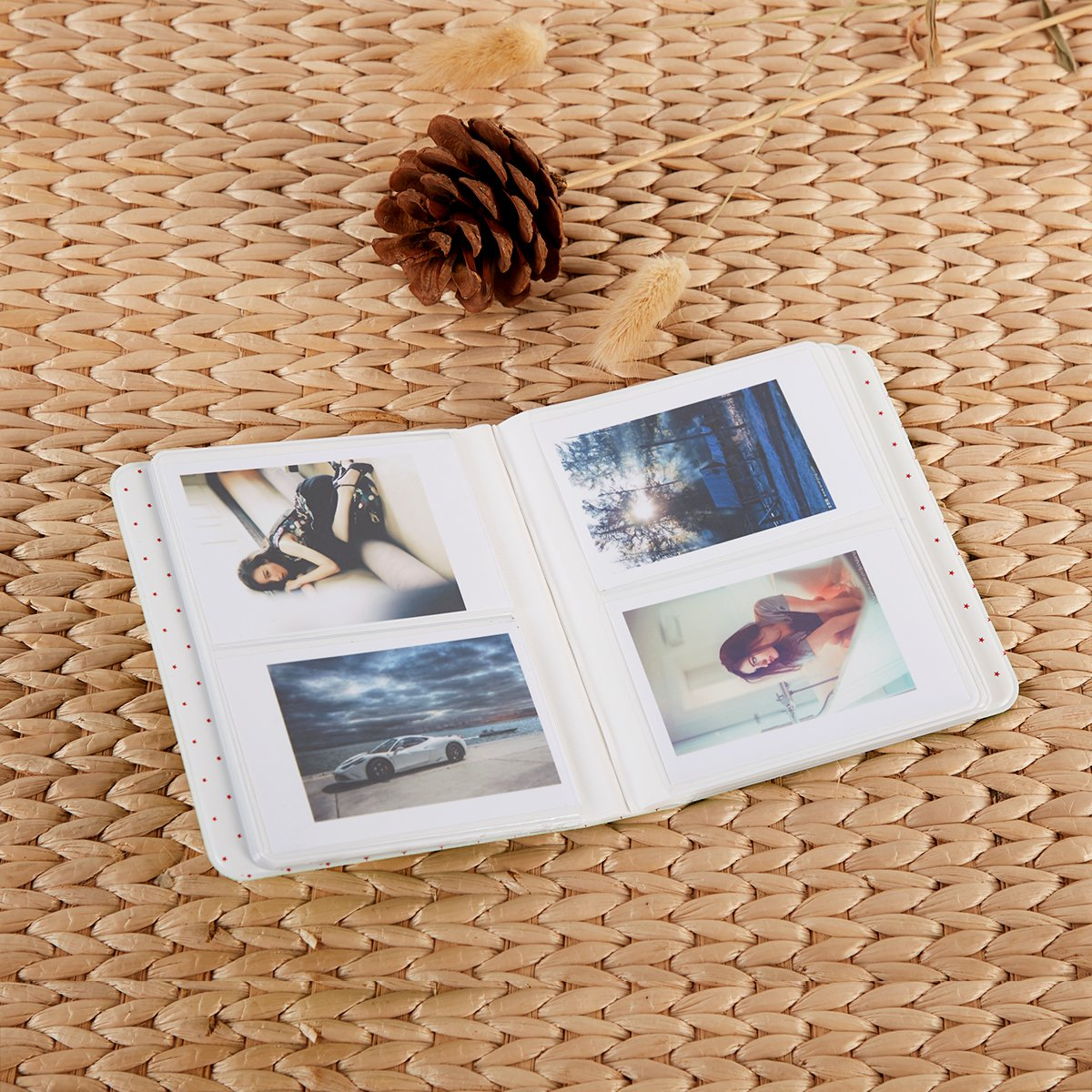 Annle Instax Mini Album Photo pour Fujifilm Instax Mini 7s 8 8 64 Pockets, Bleu 9 25 26 50s 70 90 Appareil Photo de Film instantan/é et Carte de Visite avec 20 Autocollants PCS