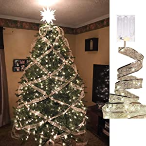 AndThere Fairy Lights LED Ribbon Christmas Lights, 13ft 40 LED Waterproof Battery Operated String Lights for Christmas Xmas Party Decoration Indoor Outdoor Hanging Decor