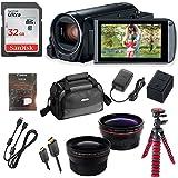 Canon Vixia HF R82 Wi-Fi 1080p HD Video Camera Camcorder + 32GB Card + Battery & Charger + Canon Camera Case + Spider Tripod + 2 Lens Kit
