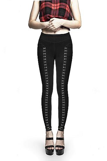 eac0bef51d Pencil Pants Women Punk Devil Skinny Pants Binding Side Pants Side Lace-up  Design Basic Halloween Rave Black Trousers: Amazon.co.uk: Clothing
